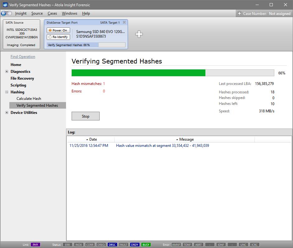 Segmented hash verification in progress