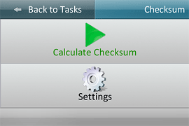 Checksum calculation screen in Bandura