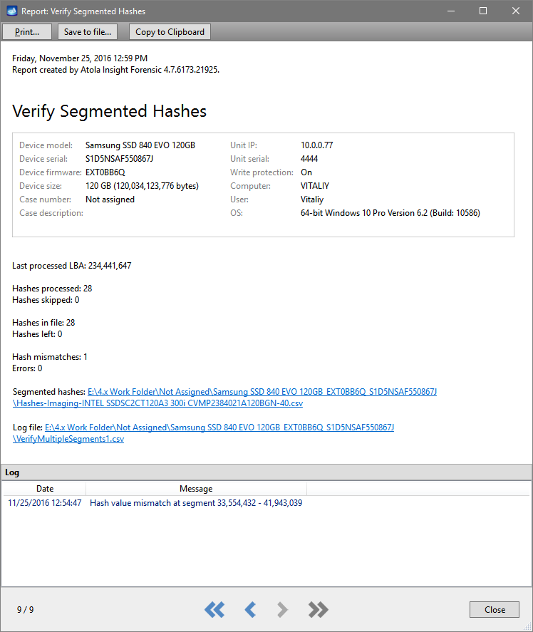 Segmented hash verification report