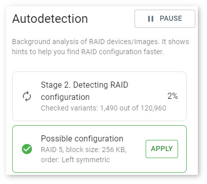 Forensic RAID rebuild - autodetection