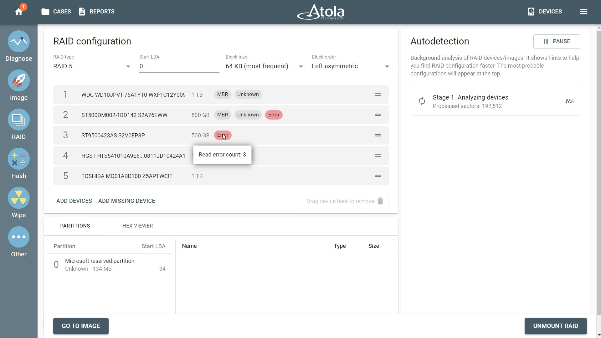 RAID configuration autodetection and error tags on drives